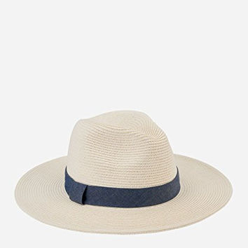 San Diego Hat Company Women's Panama Hat with Chambray Band, Ivory, One Size