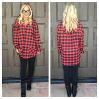Caught Red Hooded Plaid Top
