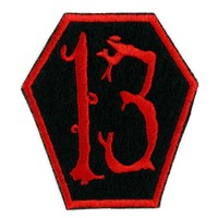 Red Coffin 13 Number Thirteen Patch Iron on Applique Alternative Clothing Lucky