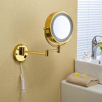"""Shipping 9""""Wall Mounted Round 3X / 1X Magnifying Bathroom Mirror Led Makeup Cosmetic Mirror Lady'S Private Mirror 1559"""