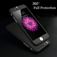 """luxury 360 Degree Full Coverage Protection Case for Apple iPhone 5 5S SE / 6 6S 4.7""""/ Plus Shockproof Phone Cover +Tempered Film"""