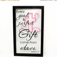 "ON SALE - First Communion Gift, Baptism Gift ""Every Good and Perfect Gift Comes From Above"" - Float Frame - Custom Religious, Baptism, First"