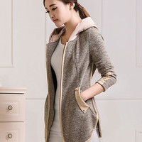 Hooded Long Sleeve with Side Pocket Wool Jacket