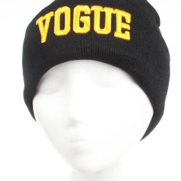 Winter Beanie Womens & Mens VOGUE Knitted Black & Yellow Gold Cuffed Skully Hat