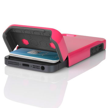 The Cherry Blossom Pink / Charcoal Gray Incipio STASHBACK™ Dockable Credit Card Case for iPhone 5-5s