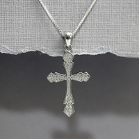 Silver Cross Necklace, Long Cross Necklace, Sterling Silver and CZ  Cross Necklace
