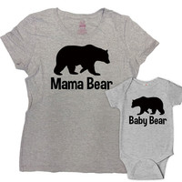Mommy And Me Outfits Mother Daughter Gifts For Mommy And Son Shirts Matching Family Shirts Mom Gifts Mama Bear Baby Bear Bodysuit -SA385-616