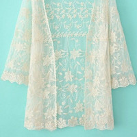 Beige Floral Lace Embroidered Kimono