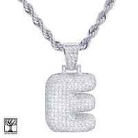 """Jewelry Kay style E Initial Silver Plated Custom Bubble Letter Iced CZ Pendant 24"""" Chain Necklace"""