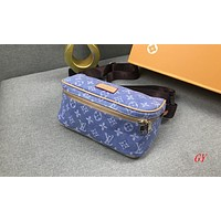 LV Fashion strap Messenger canvas bag letter LV Print chest bag Women bag Light Blue