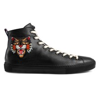 Indie Designs Angry Cat Leather Hi-top Sneakers