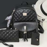 Cool Backpack school Fashion Backpack Women Leather Back Pack Famous Brand School Bags for Girls sac a dos femme with Purse and Bear Travel Back Bag AT_52_3