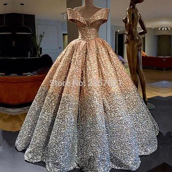 2018 Luxury Sequins Ball Gown Evening Dresses Floor Length Draped Prom Dresses Elegant Off the Shoulder Formal Evening Gowns