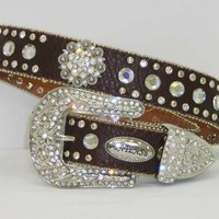 Brown With Clear Crystal Concho Western Belt