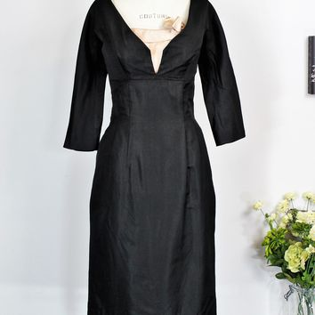 Vintage 1950s Black Silk Taffeta Cocktail Dress With Pink Silk Corset