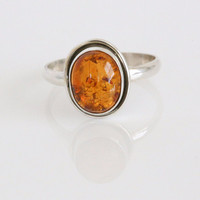 925 Silver Amber Ring Oval