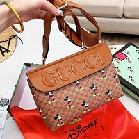 GUCCI x Disney Women Men Leather Waist Bag Chest Bag Shoulder Bag Crossbody Satchel