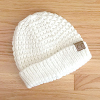 Tahoe Knit CC Beanie in White