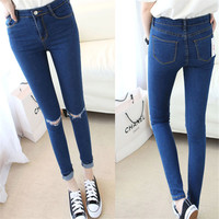 Spring Summer Style Hole Ripped Jeans Women Jeggings Cool Denim High Waist Pants Capris Female Skinny Blue Casual Jeans