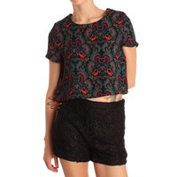 Hearts & Bows Multi Coloured Lalonde Paisley Crop Top