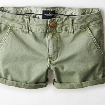 AEO Women's Twill Midi Short (Washed Olive)