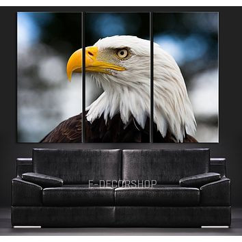 Large Wall Art Eagle Close Up Canvas Print 3 Panel Eagle Canvas Printing Streched Triptych