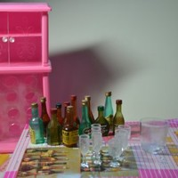Barbie Size Dollhouse Furniture- Wine Cabinet Liquor Bottles and Glasses