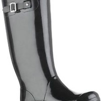 HUNTER HUNTRESS BLACK GLOSS TALL EXTENDED CALF  BOOT NWT Wide Welly BN