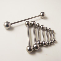 2 Piece 316L Stainless Steel Straight Industry Tongue Barbell Piercing Jewelry Tongue Nipple Bar Ring  Body Jewelry