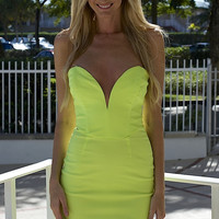 Millennium Strapless Neon Dress