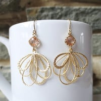 Champagne Gold Feather, Dangle Earrings, Drop Earrings, Bridesmaid Earrings,Wedding jewelry, Peach Rose Pink, Gold Feather, Anniversary