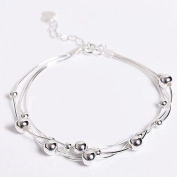 925 Sterling Silver String Beaded Anklet