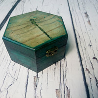 READY TO SHIP Trinket dragonfly small green absinthe box decoupage keepsake gift for her steampunk spooky witch rustic