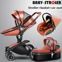 3 in 1 high quality 2 in 1 baby strollers Aulon recounts baby pram leather two-way shock absorbers baby car cart trolley pink