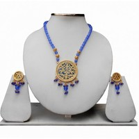 Ethnic Blue Thewa Pendant Set With Earrings for Women From India