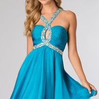 Beaded Short Halter Homecoming Dress by Alyce Paris