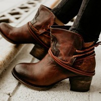 Women Ankle Boots Ladies Vintage Chunky High Heels Booties Lace Up Woman Shoes