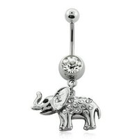 Amazon.com: Surgical Steel Clear Crystal Studded Elephant Belly Ring (3/8 inch, 14g): Jewelry