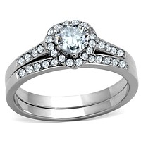 Vintage Engagement Rings TK1W161 Stainless Steel Ring with AAA Grade CZ