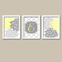 Yellow Grey Custom Monogram Flower Burst Letter Initial Set of 3 Prints Quatrefoil WALL Decor Abstract ART Bedroom Picture NURSERY Crib Baby