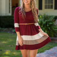 Care To Share Dress, Burgundy