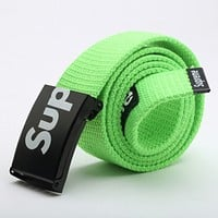 Supreme New fashion letter print canvas couple belt Green