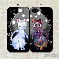 Sailor Moon Luna and Artemis Cat fashion original lover couple Case cover for iphone 4 4s made of the latest material