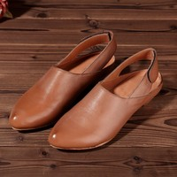 Original Design Handmade Leather Waxing Casual Shoes Brown Low Heels For Summer