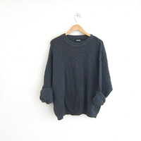 vintage dark green sweater. cotton knit pullover. basic sweater. oversized drab sweater