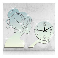 Wall Clock Creative Living Room Mirror Girl Sticking   silver