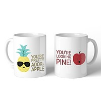 Pineapple Apple 11oz Cute Matching Couple Gift Mugs For Anniversary