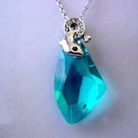 H2O Just Add Water Cleo's Swarovski Crystal Moon Pool Sea Blue Dolphin Necklace Choice of Chain or Black Hemp