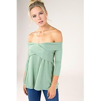 Off the Shoulder Top with Cross Front Design - Mint ONLY 1 SMALL LEFT
