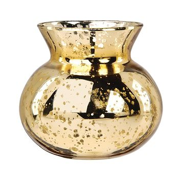 Vintage Mercury Glass Vase (4-Inch, Clara Pot Belly Design, Gold) - Decorative Flower Vase - For Home Decor, Party Decorations, and Wedding Centerpieces